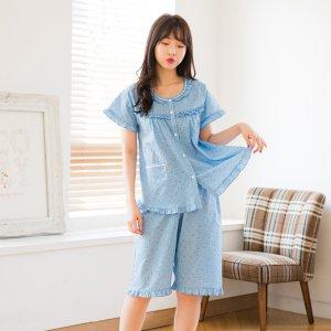 로즈플라워 여성 면혼방 반팔 잠옷세트(2컬러)여름잠
