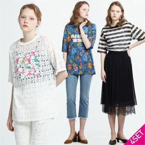(하프클럽)[르오트] 4SET 알로하팝 에디션 레이스 티셔츠 3종+스커트 4종세트_P078775981