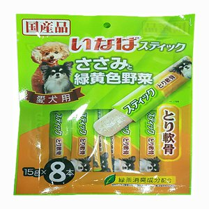 이나바 강아지 츄르 닭가슴살 젤릭스틱 야채&연골(DS-93) 15gx8개입
