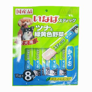 이나바 강아지 츄르 가다랑어&녹황색야채 젤리스틱(DS-94) 15gx8개입