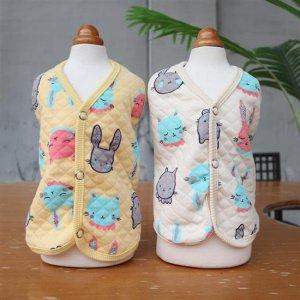 xs강아지옷 실내복 똑딱이 조끼 베이비 누빔 면 봄옷