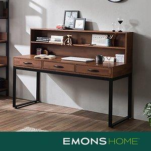 에몬스홈 인디 스틸 멀바우 서랍형 책상세트 1500 (상부선반포함)