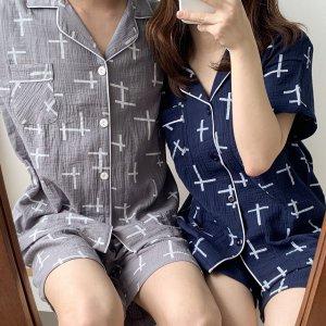 순면잠옷 커플파자마 여름홈웨어 빅사이즈