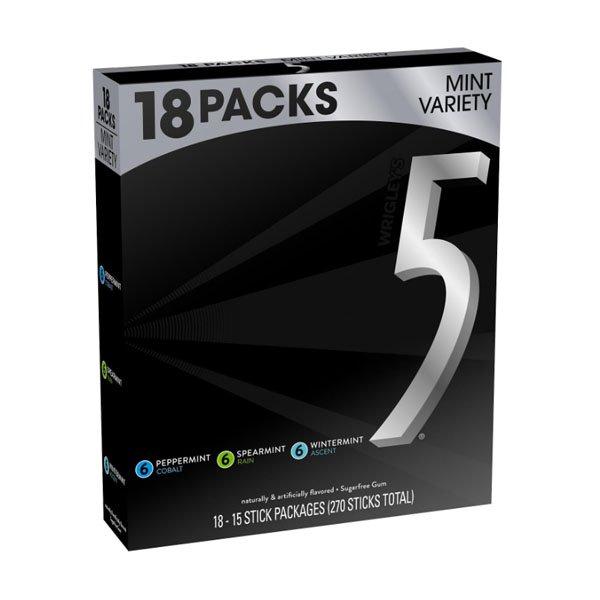 Wrigleys 5 Gum Variety Box with sm / Wrigley Gum 15x18