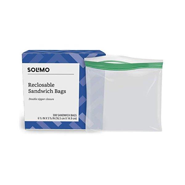 Amazon Solimo sandwich storage bag zipper pack 300ct