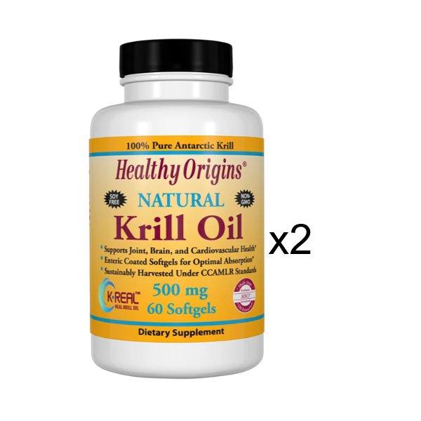 Healthy Origins Natural Krill Oil 500 mg 60sgsx 2 Bottles 81447