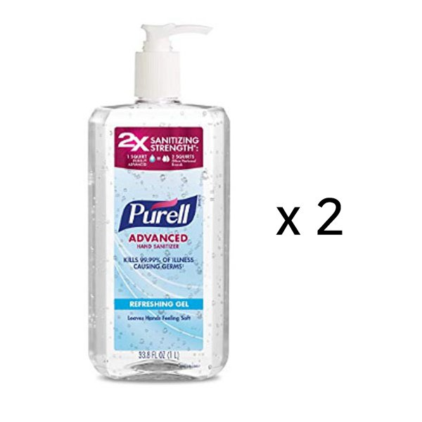 Purel 3080-02-EC Hand Cleanser Refreshing Gel Clean Scent 1L 2-Pack